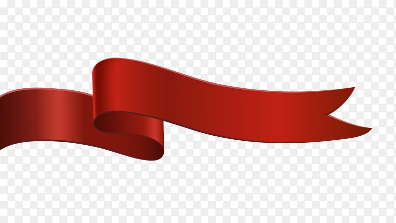 Red Paper Ribbon Banner on transparent PNG