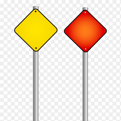 Red and Yellow  road signs isolated on transparent background PNG