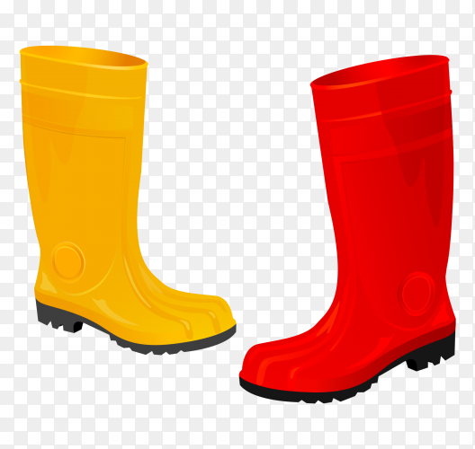 Red and Yellow Saftey boots on transparent background PNG