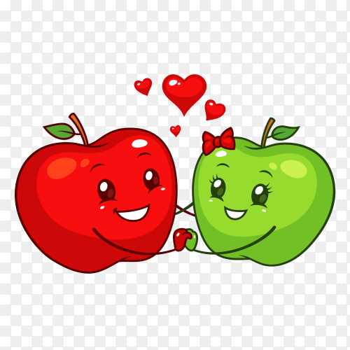 Red and green apples premium vector PNG