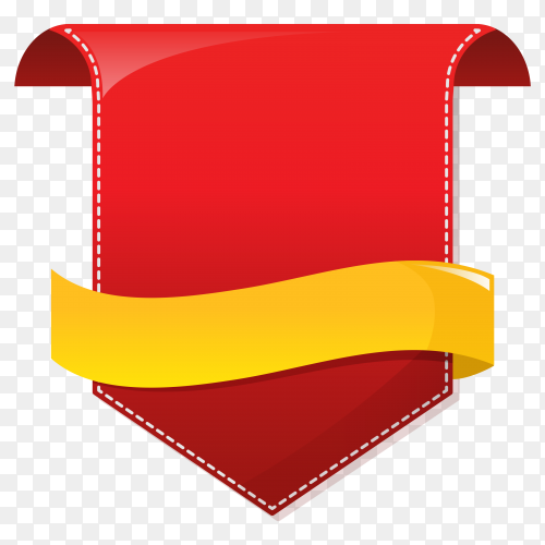 Red arrow with yellow Ribbon on transparent background PNG