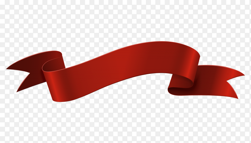 Red banner Ribbon on transparent PNG