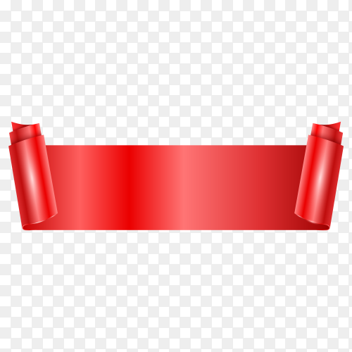 Red banner on transparent PNG