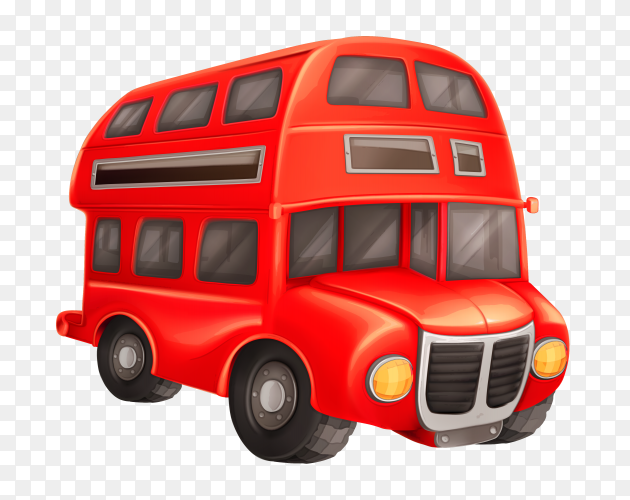 Red bus on transparent background PNG