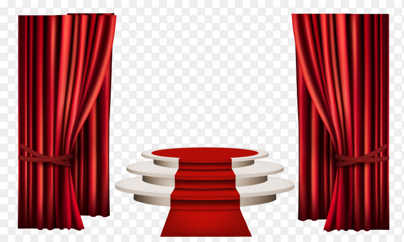 Red carpet stairs 3D on transparent background PNG