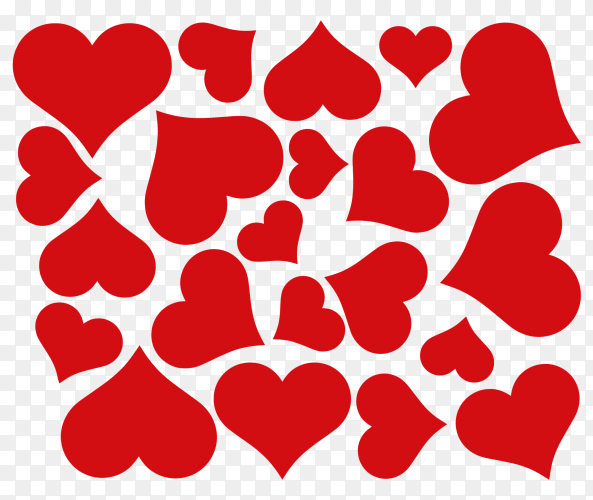 Red hearts on transparent background PNG