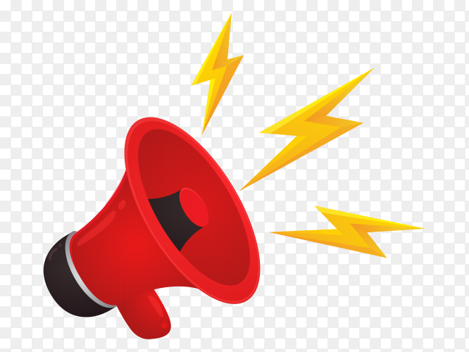 Red megaphone is advertising selling products online Clipart PNG