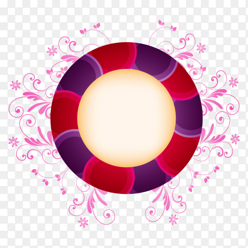 Red purpled circle with flowers on transpaernt PNG