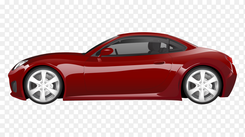 Red sport car isolated Premium vector PNG