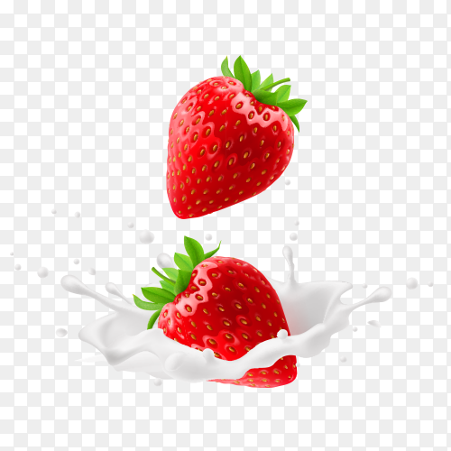 Red strawberry fruits falling into the milk Clipart PNG