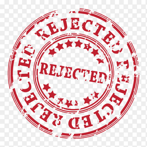 Rejected Red stamp on transparent PNG