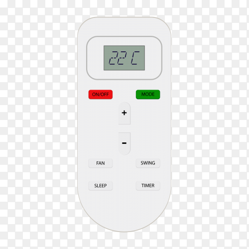 Air conditioner remote on transparent background PNG