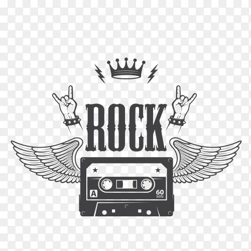Rock music band black white logotype on transparent PNG