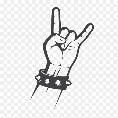 Rock on hand on transparent PNG