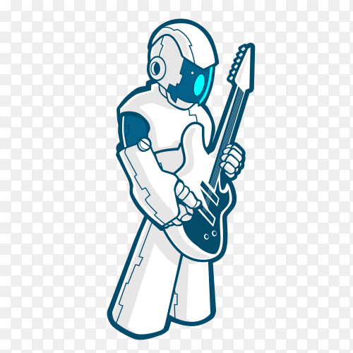 Rock robot cyborg full body with electric guitar vector PNG