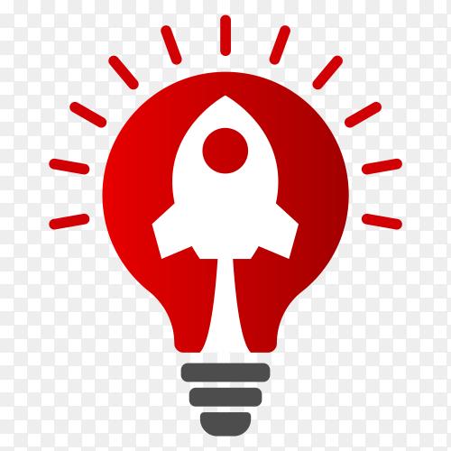 Rocket blast inside light bulb ideas Premium Vector PNG