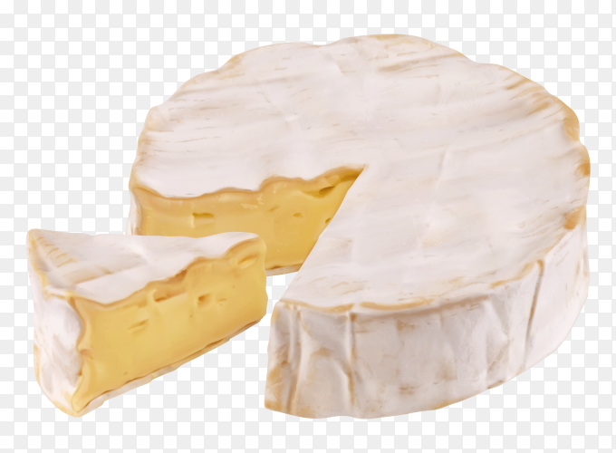 Round cheese and a slice on transparent backgrond PNG