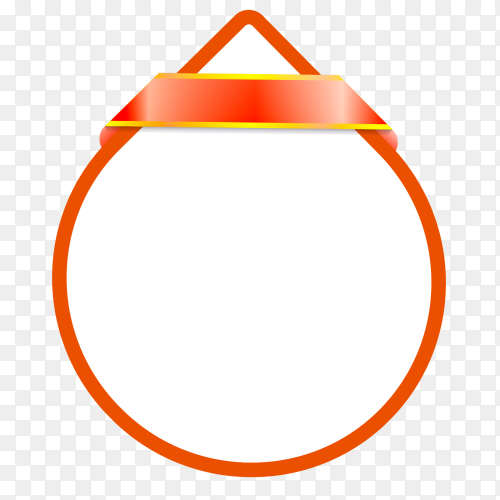 Rounded orange line shaped water drop with ribbon premium vector PNG