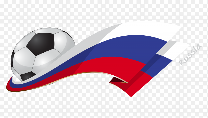 Russia flag with ball on transparent background PNG