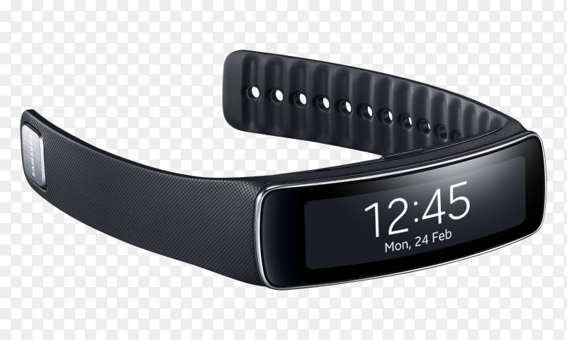 Samsung Galaxy Gear Fit Smart Watch on transparent background PNG
