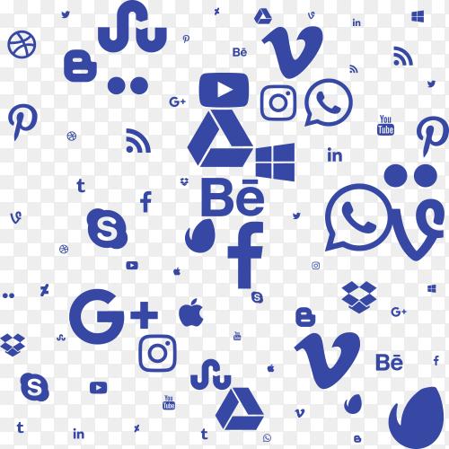 Set blue social media background Clipart PNG