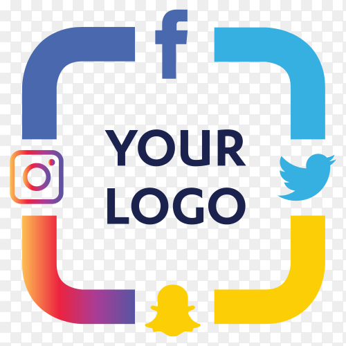 Set most popular social media icons twitter,snapchat, facebook and instagram vector PNG