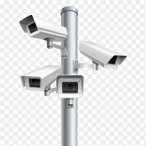 Set of security cameras Premium vector PNG