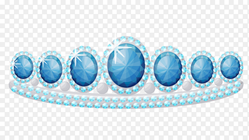 Shiny princess tiara decorated with blue gems on transparent background PNG