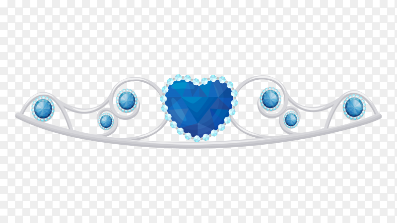Shiny princess tiara decorated with blue gems vector PNG