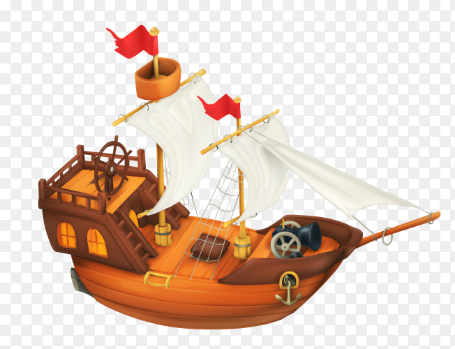 Ship cartoon design on transparent background PNG
