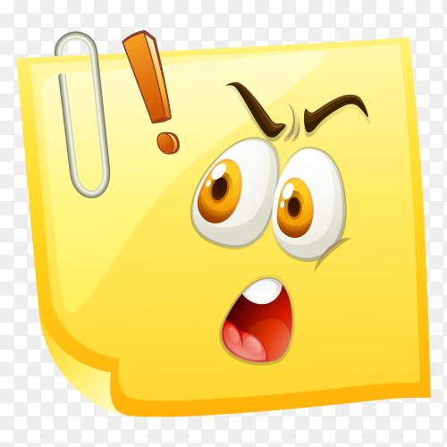Shocking face on yellow paper Clipart PNG