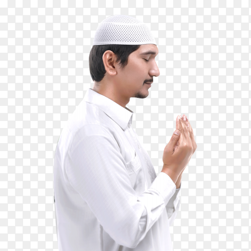 Side view of asian muslim man praying Clipart PNG