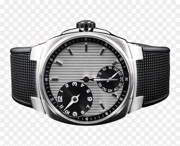 Silver watch on transparent PNG