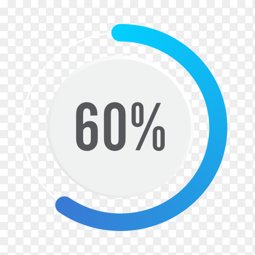 Sixty percent blue grey and white pie chart on transparent background PNG