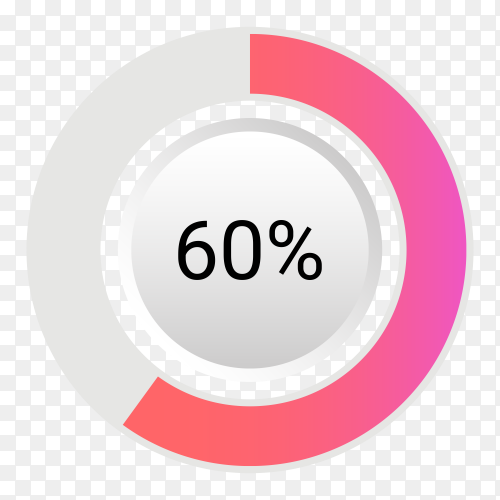 Sixty percent isolated pie chart on transparent background PNG