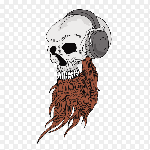 Skull listening music on headphone Clipart PNG