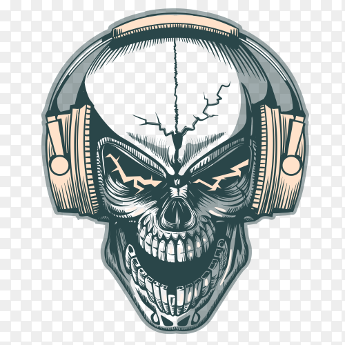 Skull with headphone on transparent PNG