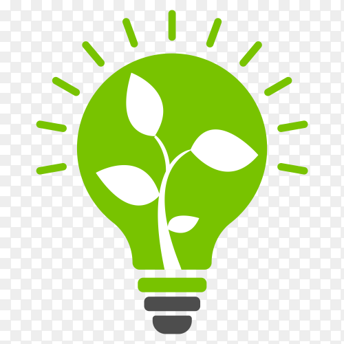 Small plant inside light bulbs on transparent background PNG