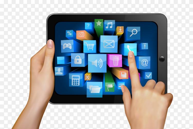 Smartphone applications Premium vector PNG