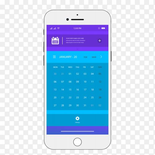 Smartphone calendar app design Premium vector PNG