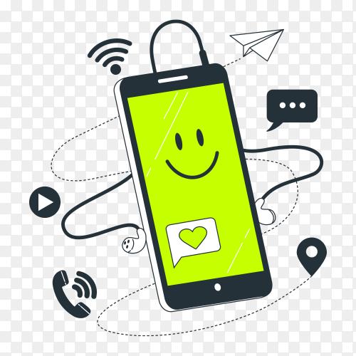 Smartphone concept illustration on transparent background PNG