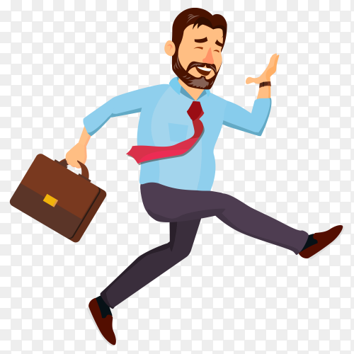 Smiling business man Running on transparent background PNG