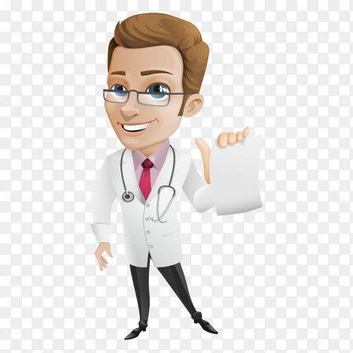Smiling doctor on transparent background PNG