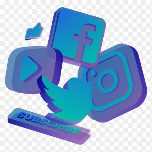 Social media icons illustration on transparent PNG