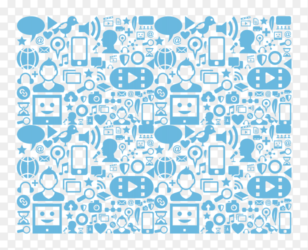 Social media icons network on computer Clipart PNG