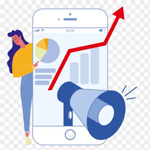 Social media marketing flat illustration vector PNG