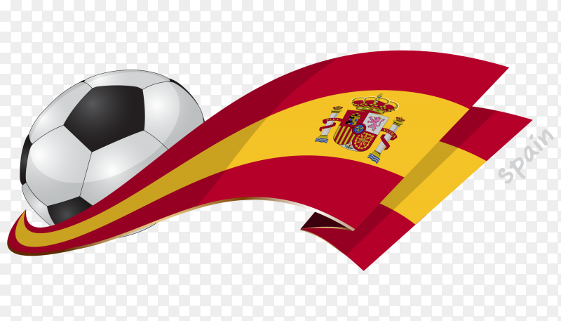 Spain flag with ball on transparent PNG
