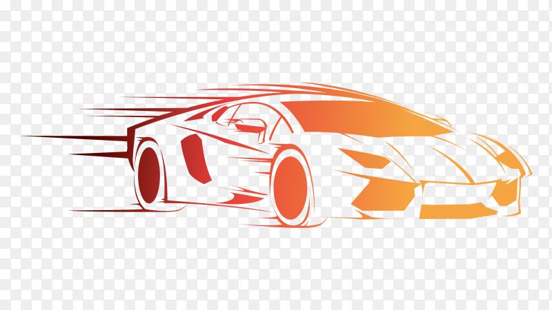 Speed car design on transparent background PNG