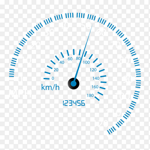 Speedometer Kilometers and miles vector PNG