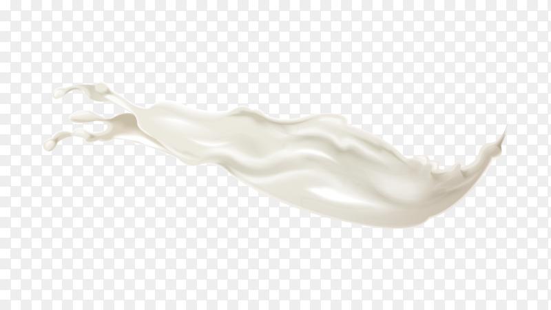 Splash white cream on transparent PNG